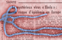 Image of Ebola virus overlayed with newspaper article