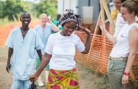Image of Ebola survivors leaving treatment centre